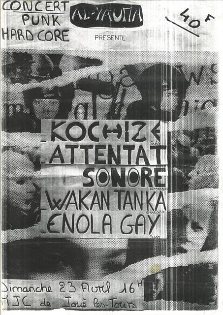 "23 avril 1995 Kochize, Attentat Sonore, Wakan Tanka, Enola Gay à Joué les Tours ""MJC"""