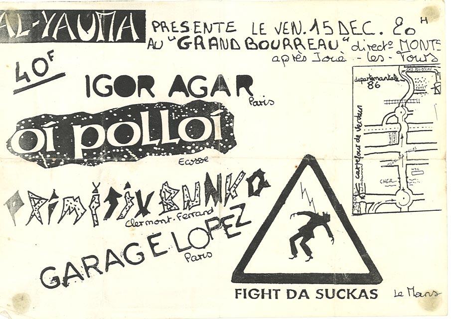 """15 décembre 1995 Fight Da Suckas, Garage Lopez, Primitiv Bunko, Oi Polloi, Igor Agar à Joué les Tours """"Grand Bourreau"""""""