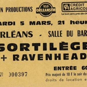 """5 mars 1985 Metamorphose, Sortilege à Orléans """"Salle du Baron"""""""