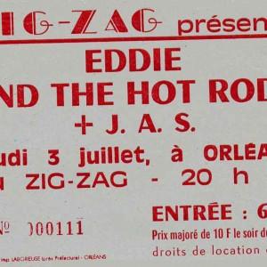 "3 juillet 1986 Just a Story, Eddie and the Hot Rods (Annulé), Lew Lewis à Olivet ""le Zig Zag"""