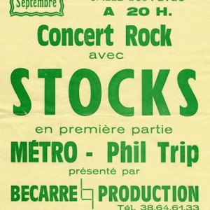"""27 septembre 1986 Metro, Phil Trip, Stocks à Pithiviers """"Salle des Fêtes"""""""