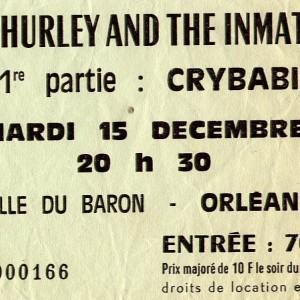 """15 décembre 1987 Zero de Conduite, Cry Babies, Bill Hurley and the Imnates - Orléans """"Salle du Baron"""""""