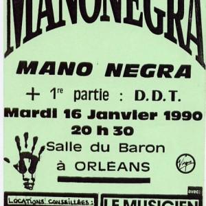 "16 Janvier 1990 Xutos, Mano Negra à Orléans ""Salle du Baron"""