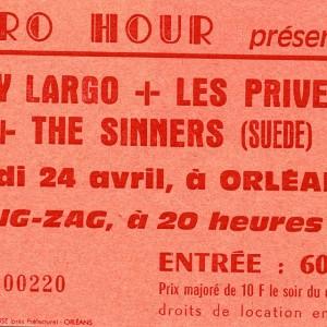 "24 avril 1986 Key Largo, les Privés, the Sinners à Olivet ""le Zig Zag"""
