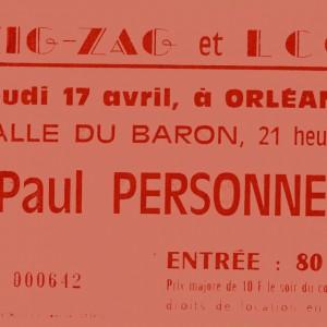 """17 avril 1986 Paul Personne à Orléans """"Salle du Baron"""""""