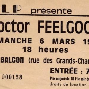 "6 mars 1988 Bumble Bees, Dr Feelgood à Orléans ""le Balcon"""