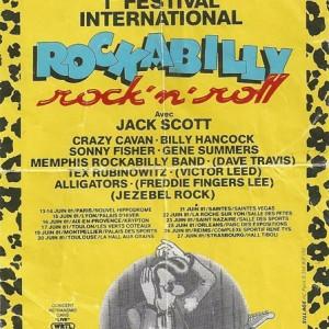 """25 juin 1981 Jack scott, Crazy Cavan, Billy Hancock Sonny Fisher, Gene Summers, Memphis Rockabilly Band, Tex Rubinowitz, Alligators à Orléans """"Parc des Expositions"""" - Annulé"""