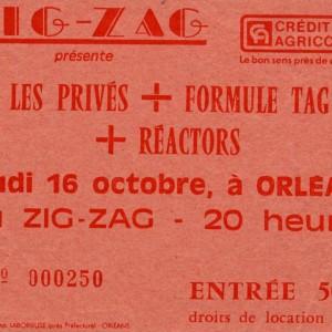 """16 octobre 1986 Les Privés, Phil Trip, Réactors à Olivet """"le Zig Zag"""""""