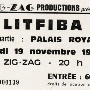"""19 novembre 1987 Palais Royal, Litfiba à Olivet """"le Zig Zag"""""""