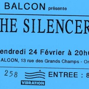 """24 Fevrier 1989 the Silencers à Orléans """"le Balcon"""""""