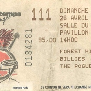"26 avril 1987 Forest Hill Billies, The Pogues à Bourges ""Salle du Pavillon"""