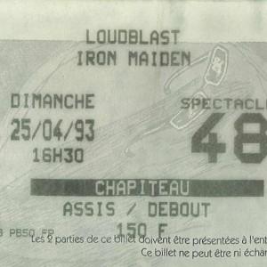 "25 avril 1993 Loudblast, Iron Maiden à Bourges ""Chapiteau"""