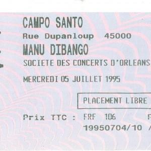 "5 juillet 1995 Manu Dibango à Orléans ""Campo Santo"""