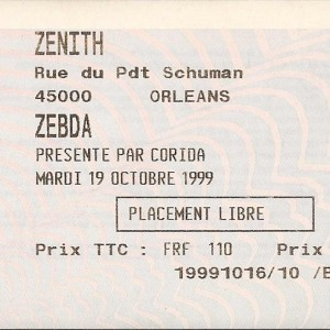 "19 octobre 1999 Zebda à Orléans ""le Zenith"""