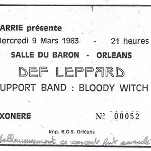 """9 mars 1983 Bloody Witch, Def Leppard à Orléans """"Salle du Baron"""" - Annulé"""