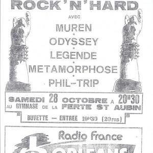"""28 Octobre 1989 Phil Trip, Metamorphose, Legend, Odyssey, Muren à La Ferté Saint Aubin """"Gymnase"""""""