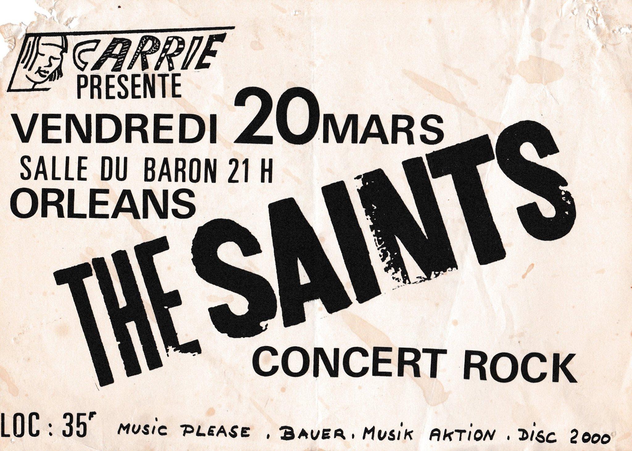 """20 mars 1981 Les Ablettes, The Saints à Orléans """"Salle du Baron"""""""