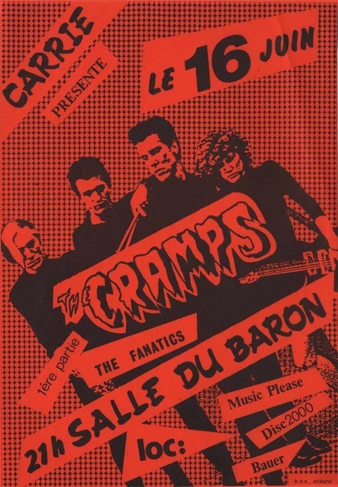 """16 juin 1981 The Fanatics, The Cramps à orléans """"Salle du Baron"""""""