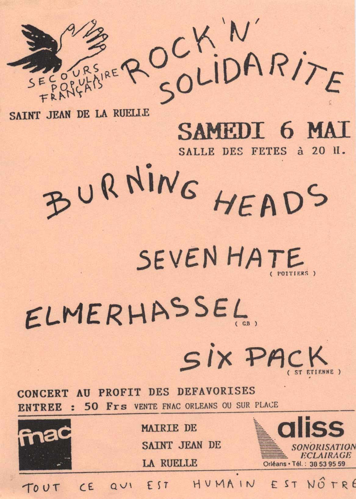 """6 mai 1995 Sixpack, Elmerhassel, Seven Hate, Burning Heads à Saint Jean de la Ruelle """"Salle des Fêtes"""""""