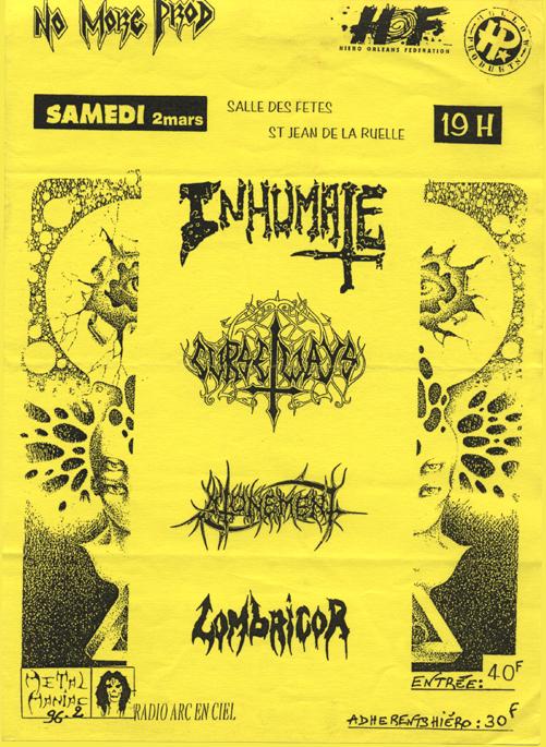 2 mars 1996 Inhumate, Lombricor, Atonement, Curseways à Saint Jean de la Ruelle « Salle des Fêtes »