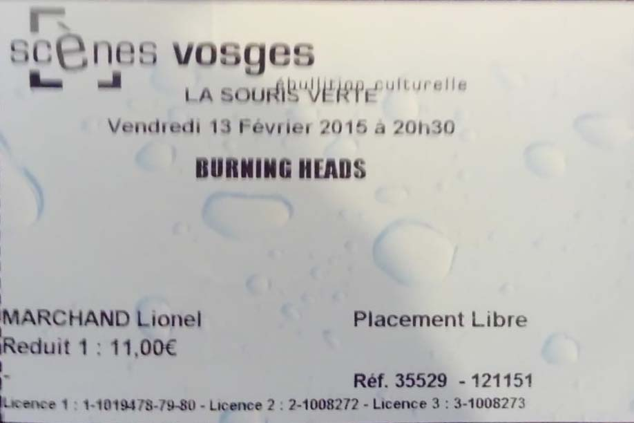 "13 février 2015 Burning Heads, The Early Grave, Dog'n'style, Anunaki à Epinal ""La Souris Verte"""