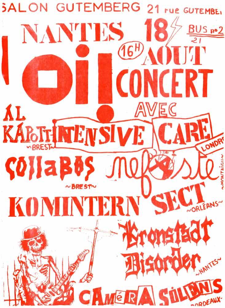 "18 aout 1984 Camera Silens, Kronstadt Disorder, Komintern Sect, Nefaste, Collabos, Al Kapott à Nantes ""Salon Gutemberg"""