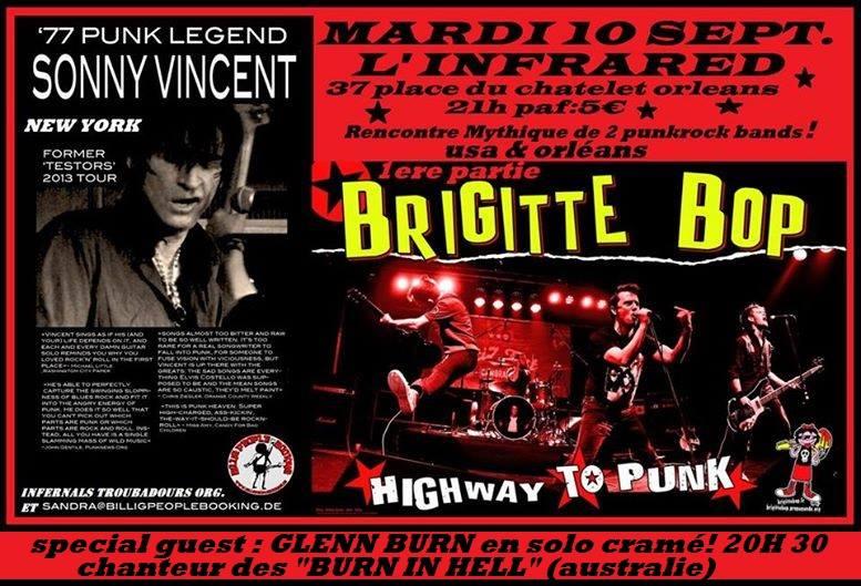 """10 septembre 2013 Glenn Burn, Brigitte Bop, Sonny Vincent à Orléans """"Infrared"""""""