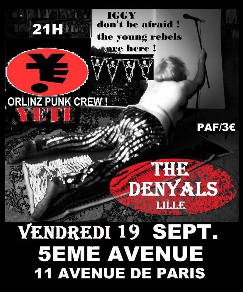 """19 septembre 2014 Yeti, The Denyals à Orléans """"5ème Avenue"""""""