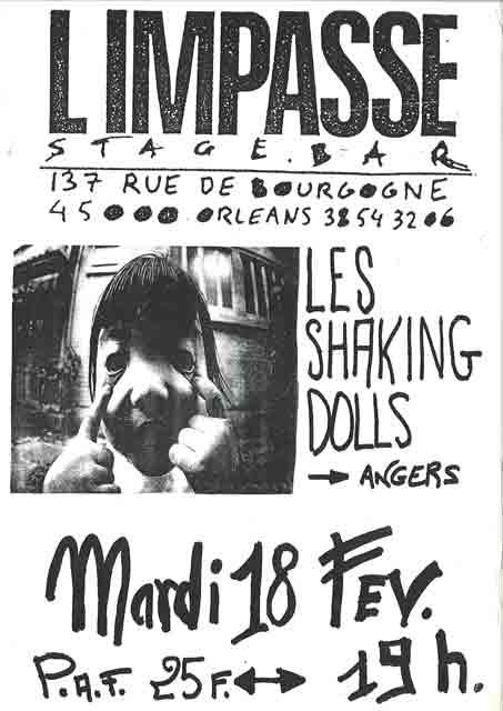 "18 fevrier 1992 Jug, Shaking Dolls à Orléans ""L'impasse"""