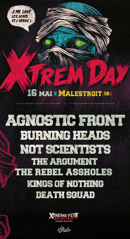 "16 mai 2015  Agnostic Front, Burning Heads, Not Scientists, The Argument, Rebel Assholes, Kings Of Nothing, Death Squad à Malestroit ""Salle des fêtes"""