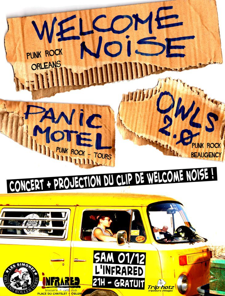 "1er decembre 2012 Owls 2.0, Panic Motel, Welcome Noise à Orléans ""Infrared"""