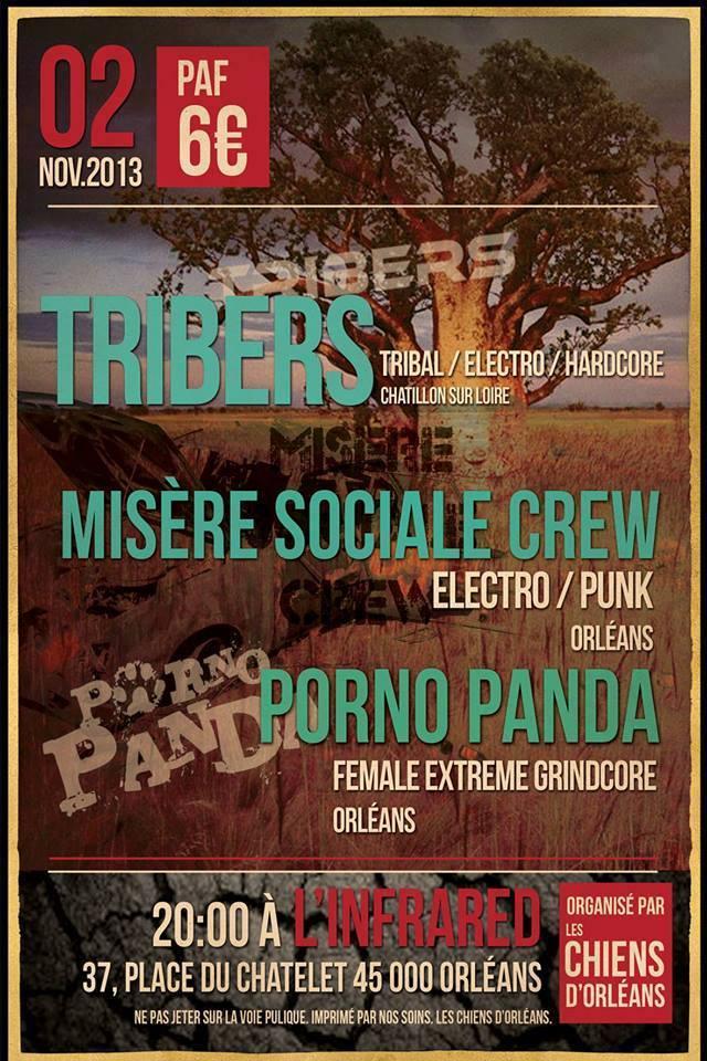 "2 novembre 2013 Porno Panda, Misere Social Crew, Tribers à Orléans ""Infrared"""
