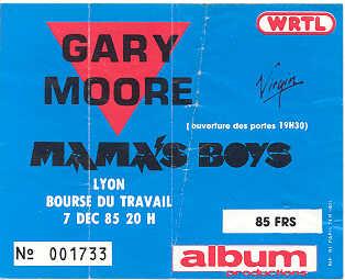 """7 décembre 1985 Mama's Boys, Gary Moore à Lyon """"Bourse du Travail"""""""