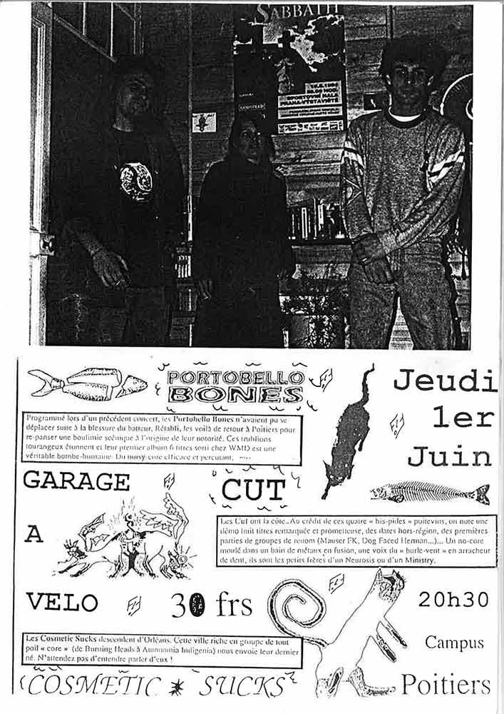 """1er juin 1995 Cosmetik Sucks, Cut, Portobello Bones à Poitiers """"Campus"""""""