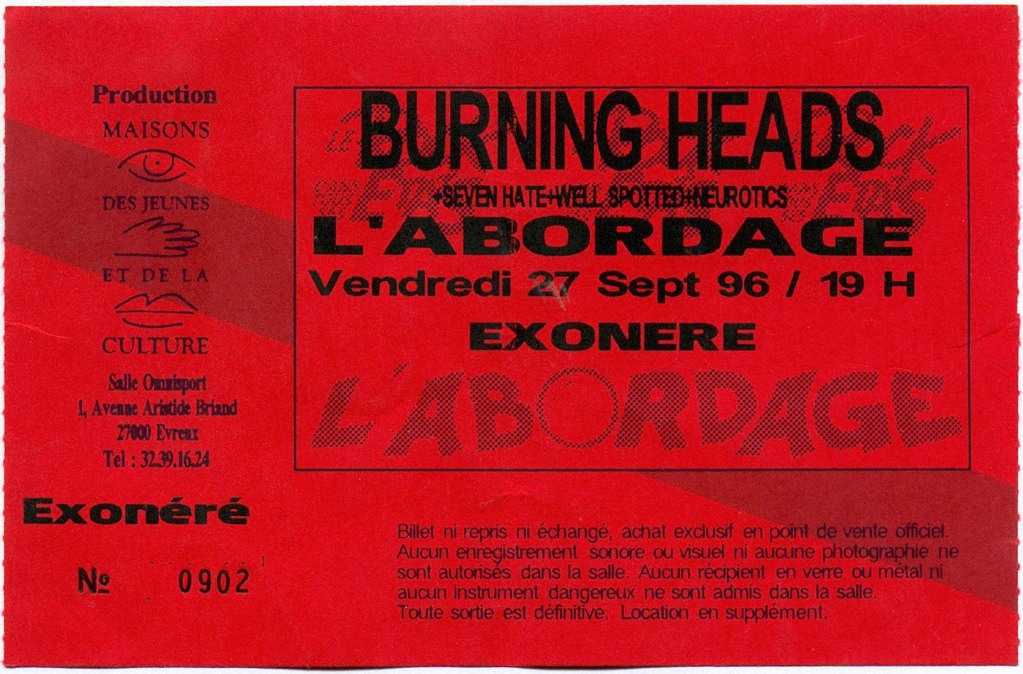 "27 septembre 1996 Neurotics, Well Spoted, Seven hate, Burning heads à Evreux ""l'Abordage"""