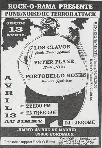"""13 avril 1995 Los Clavos, Peter Plane, Portobello Bones à Bordeaux """"le Jimmy"""""""