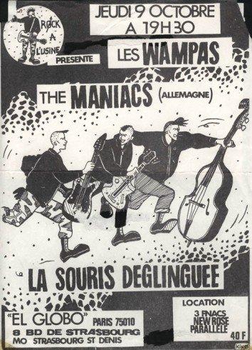 """9 octobre 1986 Les Wampas, The Maniacs, La Souris Déglinguée à Paris """"El Globo"""""""