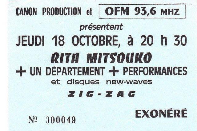 """18 octobre 1984 Un Departement, Rita Mitsouko à Olivet """"le Zig Zag"""""""