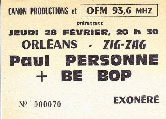 """28 février 1985 Bebop, Paul Personne à Olivet """"le Zig Zag"""""""