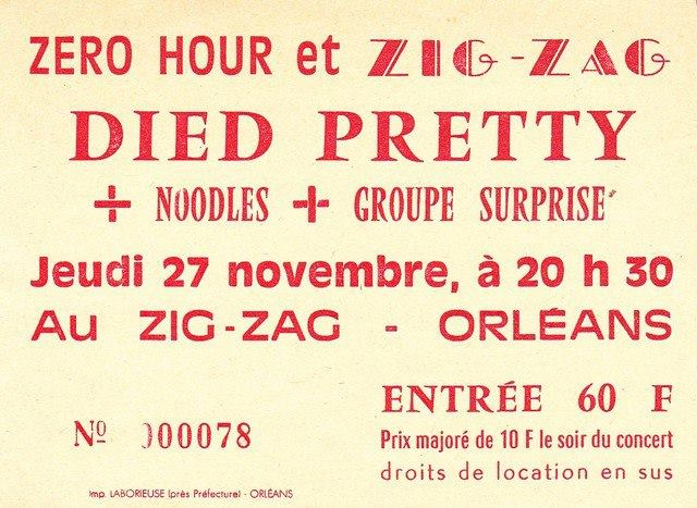 """27 novembre 1986 The Bliss Greedies, Noodles, Died Pretty à Olivet """"le Zig Zag"""""""