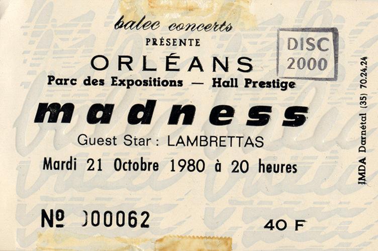 """21 octobre 1980 Lambrettas, Madness à Orléans """"Parc des Expositions"""""""
