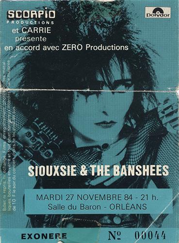 """27 novembre 1984 Siouxsie & The Banshees à Orléans """"Salle du Baron"""" - Annulé"""