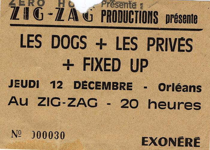 """12 décembre 1985 les Privés, Fixed Up, Les Dogs à Olivet """"Le Zig Zag"""""""