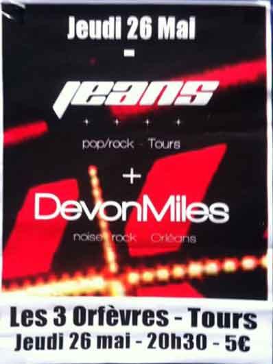 """26 mai 2011 DevonMiles, Jeans à Tours """"Les 3 Orfèvres"""""""