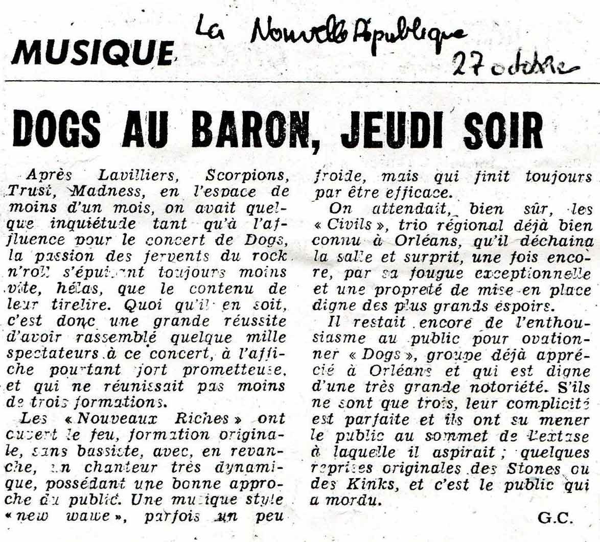 """23 octobre 1980 Les Nouveaux Riches, Les Civils, Les Dogs à Orléans """"Salle du Baron"""""""