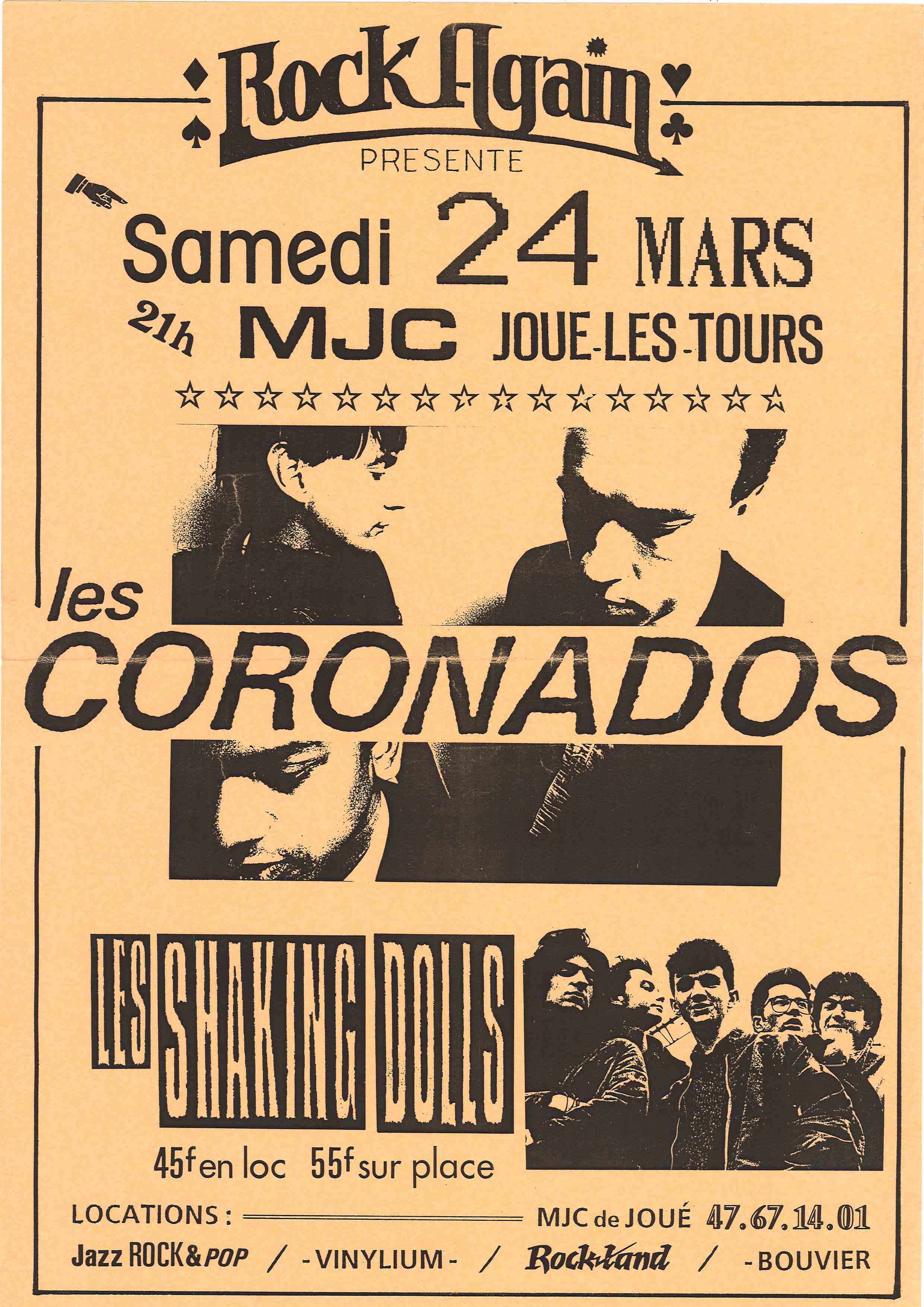 """24 mars 1990 Les Shaking Dolls, Les Coronados à Joué les Tours """"MJC"""""""