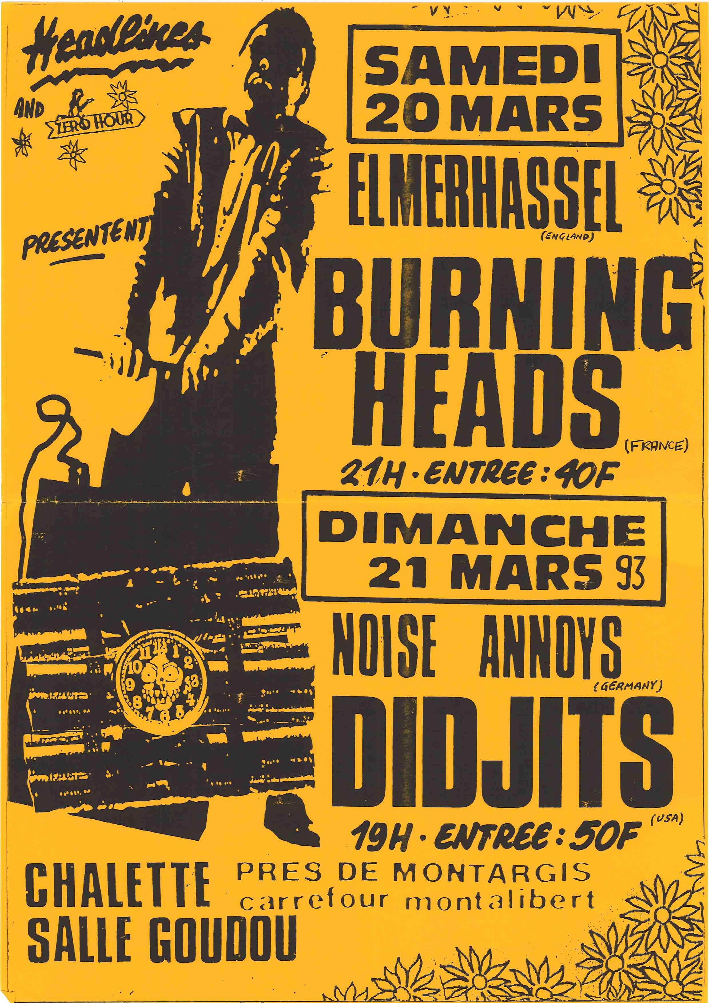"Samedi 20 mars 1993 Elmerhassel, Burning Heads à Chalette Sur Loing ""Salle Goudou"""