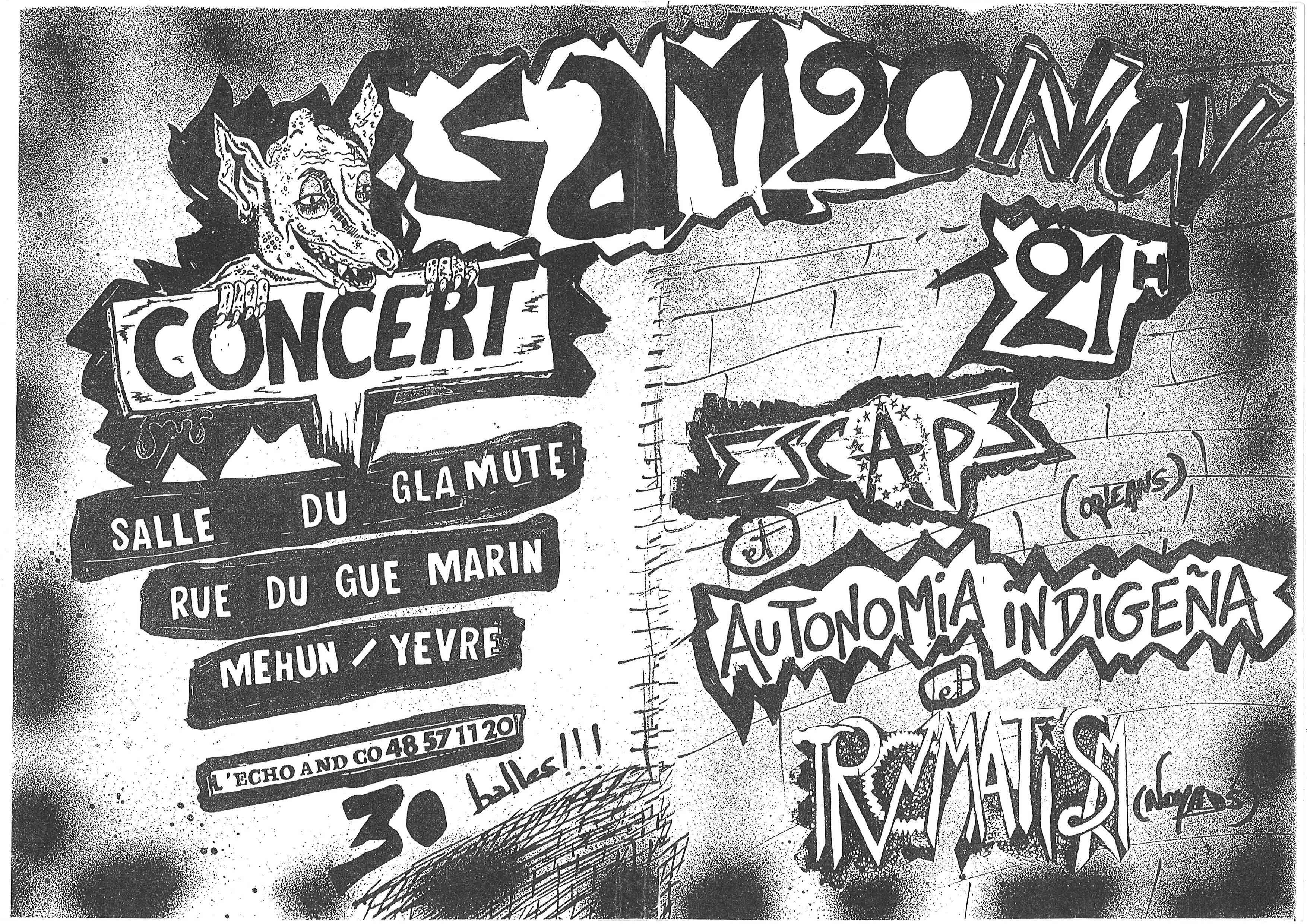 """20 novembre 1993 Escape, Autonomia Indigena, Tromatism à Mehun sur Yevre """"Salle du Glamute"""""""