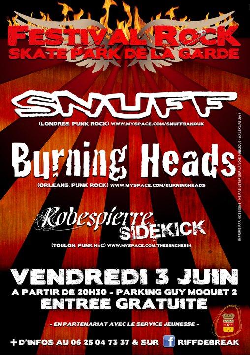 "3 juin 2011 Robespierre Sidekick, Burning Heads, Snuff à La Garde ""Skatepark"""