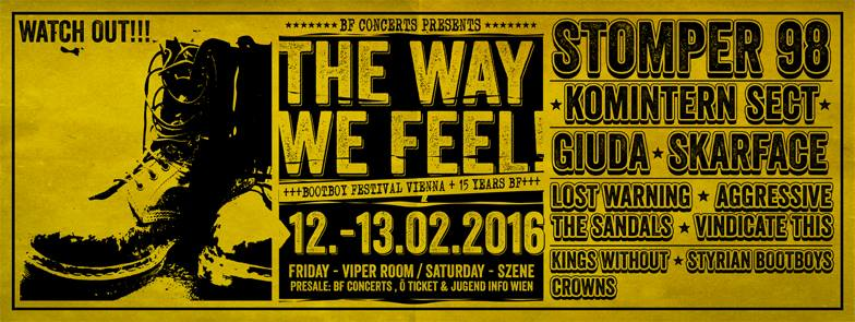 """13 février 2016 Kings without Crowns, Vindicate This!, Lost Warning, Skarface, Giuda, Stomper 98 à Vienne """"Szene"""""""